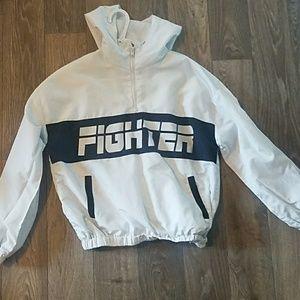 "White ""fighter"" windbreaker"
